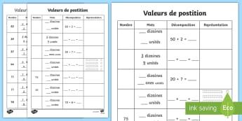Feuille d'activités : Les valeurs de positions - mathématiques, nombres, décomposer, calcul, cycle 2, cycle 3,French