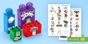 Rhyming Towers Connecting Bricks Game - EYFS, Early years, KS1, Literacy, rhyme.