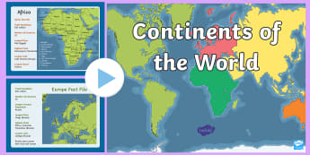 KS1 Geography Continents of the World Fact'  PowerPoint - KS1 Geography Continents of the World Fact File Display Posters - ks1, geography, continents of the