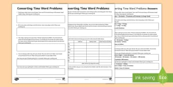 Converting Time Word Problems Activity Sheet - ACMMG085, hours, minutes, days, seconds, problem solving, worksheet, measurement