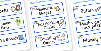 Rainbow Themed Editable Maths Area Resource Labels - Themed maths resource labels, maths area resources, Label template, Resource Label, Name Labels, Editable Labels, Drawer Labels, KS1 Labels, Foundation Labels, Foundation Stage Labels, Teaching Lab