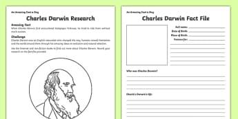 Charles Darwin Research Worksheet / Activity Sheet - amazing fact a day, worksheet / activity sheet, activity, activities,, worksheet