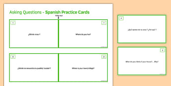 General Conversation Home Town Neighbourhood & Region Question Double Sided Cards Spanish/English