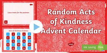Random Acts of Kindness Advent Calendar PowerPoint - random, acts, kindness, advent, calendar,calandar, calender2016, claendars, calemdar, kindess, calan