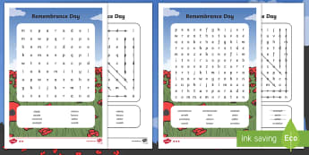 Remembrance Day Word Search - poppy day, remember, KS1, Ks2, war