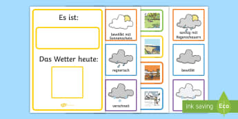 Weather and Seasons Day Calendar German - german, season, weather, calendar, spring, summer, autumn, winter, rainy, sunny, cloudy, calendar, wetter