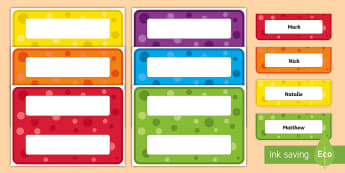 Editable Multicolour Pattern Desk Plate Name Labels - table name, transition, getting to know you, name sticker, new class