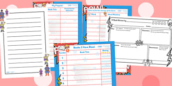 Superheroes Themed Reading Record Pack - superhero, reading record, superhero themed reading record, reading record pack, record of reading, reading diary