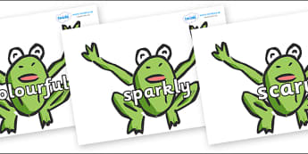 Wow Words on Frogs - Wow words, adjectives, VCOP, describing, Wow, display, poster, wow display, tasty, scary, ugly, beautiful, colourful sharp, bouncy