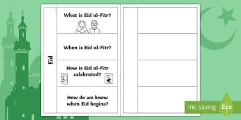 Eid al-Fitr Flapbook - Eid al-Fitr (KS1) 25th June 2017, islam, muslim, festival, ramadan, fasting, celebration, year one,