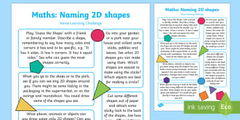 EYFS Beginning to Use Mathematical Names for 'Flat' 2D Shapes Home Learning Challenge Sheet - Beginning to use mathematical names for 'flat' 2D shapes, and mathematical terms to describe sha