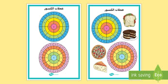 ملصق عرض الكسور - الكسور، ملصق عرض، الكسور العادية، عربي، رياضيات، حساب
