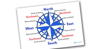 Compass 16 Point Display Posters - compass 16 points, display, poster, sign, compass, 16 point, North, soSth, West, East, Northeast, Northwest, Southeast, Southwest, geography, direction, KS2