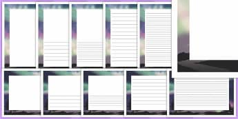 Northern Lights Page Border Pack - northern lights, page borders