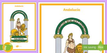 Póster: El escudo de Andalucia - Mapas, provinicias, mapas mudos, mapas en blanco, las ciudades de españa, comarcas, concejos, comun