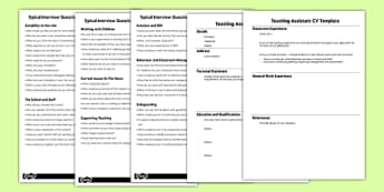 Teaching Assistant Job Interview Resource Pack - resource, pack, job hunting, CV