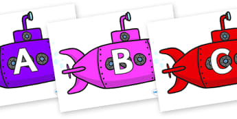 A-Z Alphabet on Submarines - A-Z, A4, display, Alphabet frieze, Display letters, Letter posters, A-Z letters, Alphabet flashcards