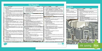 Earthquakes Topic Planning Web - New Zealand Natural Disasters, earthquake, tsunami, volcano, monsoon, hurricane, flood, tornado