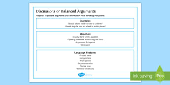 Features of Discussions or Balanced Arguments Word Mat - Features of Discussions or Balanced Arguments Poster - discussions and balanced arguments, balanced