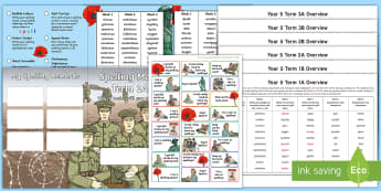 Year 5 World War I Themed Spelling Menu - world war 1, spelling lists, word lists, spag, gps,