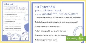 10 întrebări pentru cultivarea mentalității pro-dezvoltare Planșă - inteligență emoțională, automotivație, autocontrol, gândire pozitivă, managemnet comportament