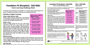 Foundation PE (Reception) - Ball Skills Home Learning Challenge Sheet - EYFS, PE, Physical Development, Planning