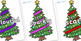 Wow Words on Christmas Trees (Decorated) - Wow words, adjectives, VCOP, describing, Wow, display, poster, wow display, tasty, scary, ugly, beautiful, colourful sharp, bouncy