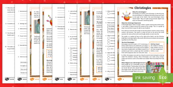 KS2 Christingles  Differentiated Reading Comprehension Activity - christmas, advent, light of the world, celebration, reading
