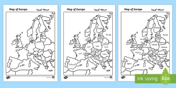 Map of Europe with and without Names Arabic/English - georgraphy EAL Arabic,Arabic-translation