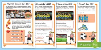 KS1 UEFA Women's Euros Differentiated Fact File - Football, European, Tournament, Information, Reading