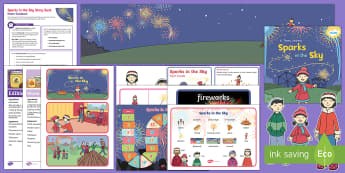 Sparks in the Sky Story Sack Resource Pack - KS1, EYFS, Home learning, Parents, story activities, bonfire night, fireworks, activities, homework,