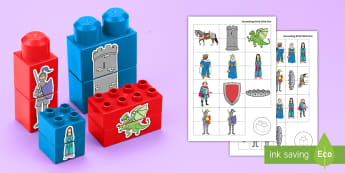 Castles, Knights and Dragons Matching Connecting Bricks Game - EYFS, Early Years, KS1, Connecting Bricks Resources, Duplo, Lego, Plastic Bricks, Building Bricks, K