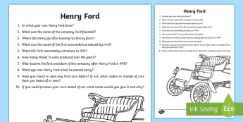 Henry Ford Questions and Answers Activity Sheets - World Around Us KS2 - Northern Ireland,worksheets, transport, facts, non-fiction, research, automobi