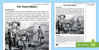An Amazing Fact A Day South Africa - The Voortrekkers Worksheet / Activity Sheet - voortrekkers, leather, uses for leather, groot trek, history, facts, south africa, boere raad, home