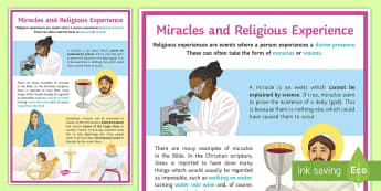 Miracles and Religious Experience A2 Display Poster - Miracles, Visions, religious Experience, God, Theism, Atheism, agnostic