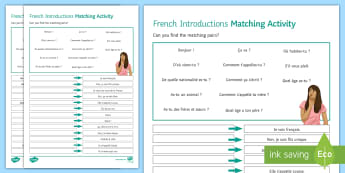 Introductions Matching Differentiated Worksheet / Activity Sheet French  - French, Introductions, se présenter, présentation, self, oneself, moi, détails personnels, match,