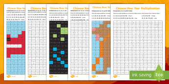 LKS2 Chinese New Year Multiplication Mosaic Differentiated Activity Sheets - Year 3, Year 4, Times Tables, x3, x4, x8, x6, x7, x9, x11, x12, multiplying, worksheets, formal writ