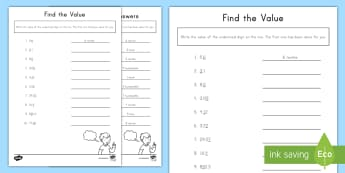 Find the Value of the Underlined Digit with Decimals Included Activity Sheet -  fractions, place value, value, tenths, hundredths, worksheet, 5.NBT.A.1