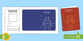 Plantillas: Pasaporte intergaláctico - espacio, especial, actuar, actuación juego, jugar, roles, rol, escenario, decorado, decorados, astr