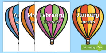 Months of the Year on Hot Air Balloons - Months of the year on hot air balloons, balloons, hot air balloon, Weeks poster, Months display, dis