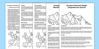 European Mountain Ranges Comprehension Activity English/Polish - European Mountain Ranges Reading Comprehension Activity - mountains, comprehesion, comprehnsion, com