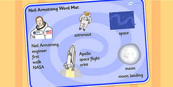 Neil Armstrong Word Mat - neil armstrong, word mat, topic words, key words, important words, mat of words, relevent words, story mat, themed word mat