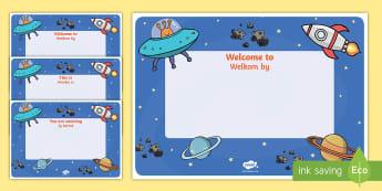 Space Themed Class Welcome Display Sign English/Afrikaans - science, new, begin, beginning, literacy, geletterdheid, wetenskap, EAL