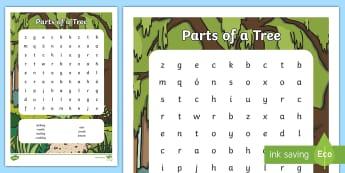 Trees of Ireland (Crann) Word Search - trees, crann, leaves, trunk, bud