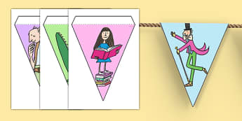 Roald Dahl Display Bunting Images - display bunting, roald dahl, roald dahl bunting, display, bunting, images, dahl display bunting images, flag bunting