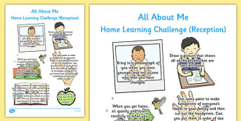 All About Me Home Learning Challenge Sheet Reception FS2