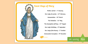 Feast Days of Mary A4 Display Poster - Mary, our lady, immaculate conception, our lady's birthday, mary's birthday, feast of the assumpti