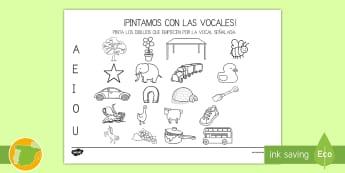 Ficha de actividad: ¡Pintamos con las vocales! - Vocales, Letras, Sonidos, Lectoescritura, Pre-Escritura, Lectura, Pre-Lectura