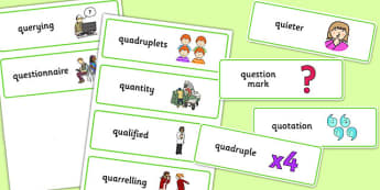 Three Syllable QU Word Cards - speech sounds, phonology, articulation, speech therapy, cluster reduction