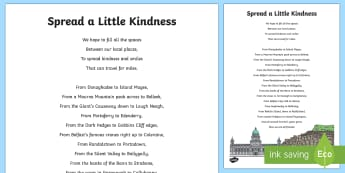 Kindness Place Names Poem Activity - NI, Kindness Week, poem, place names, local